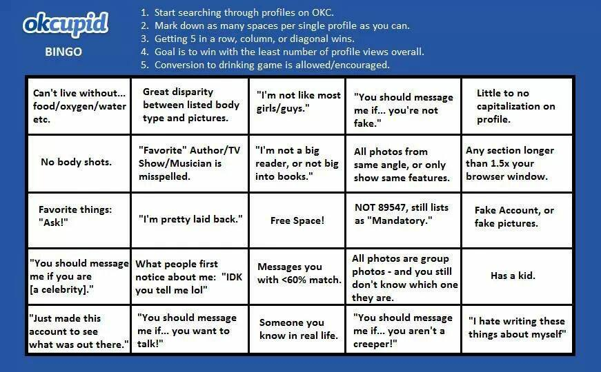 OkCupid Bingo Game is Hilarious - Online Dating Insider
