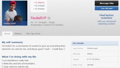 Paul Ryan OkCupid profile