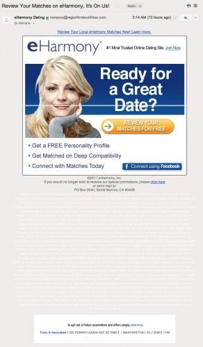 eharmony affiliate spam