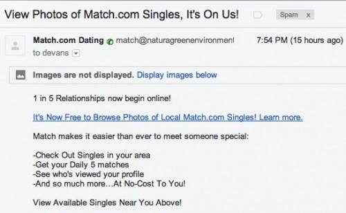 match.com dating site spam