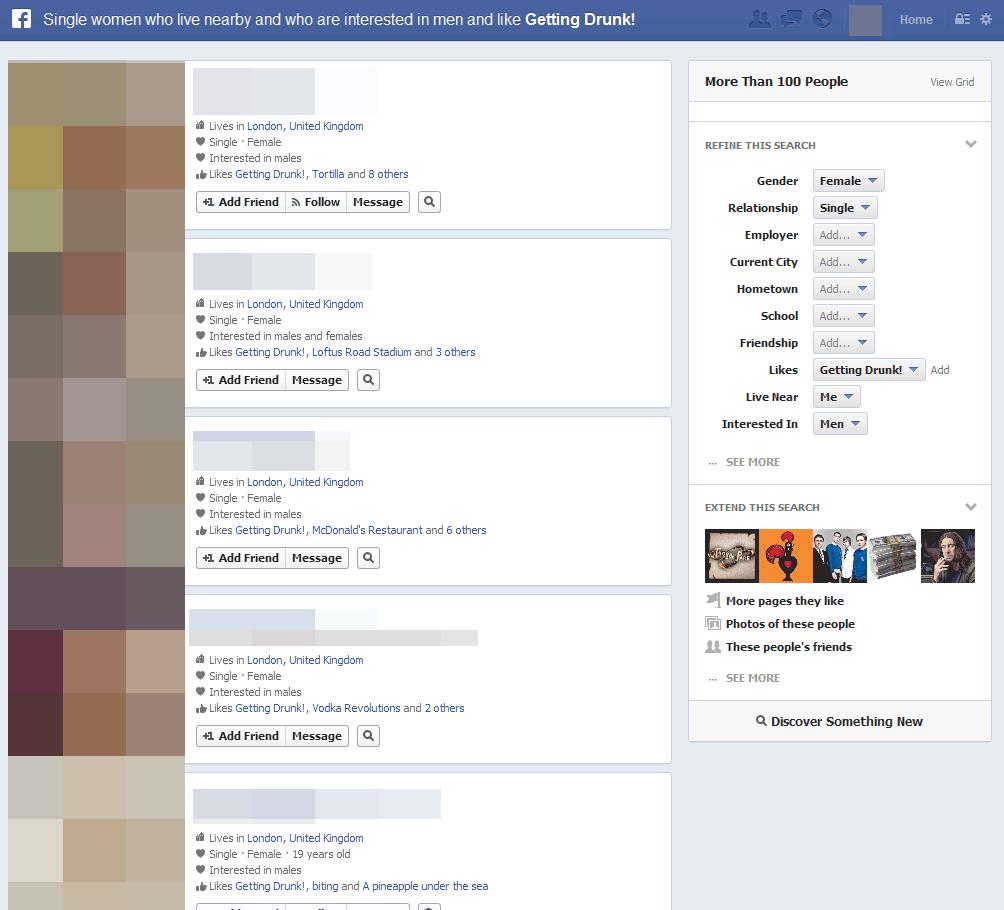 Single people on facebook